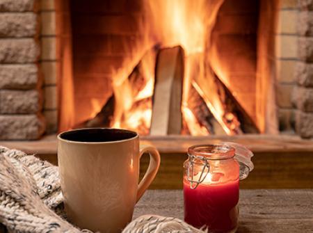 Sitting near a warm fire