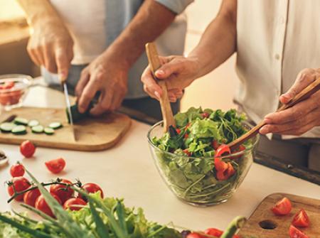 Healthy foods and salad mixture