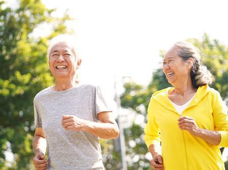 Two Seniors Running Active